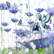 青い花の森