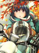 紅葉とバイクとリンちゃんと