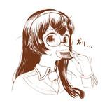 おせんべいを食べる大淀さん