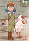 大佐だったトキがみえたので記念撮影をする一日憲兵体験中のスンちゃん