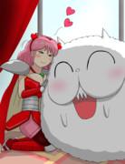 ニコちゃんとたわむれるオッパ姫
