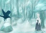鴉と巫女さん