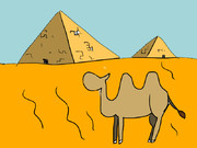 砂漠とラクダとピラミッド