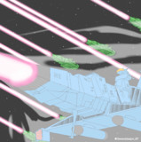 新型デスラー艦&デスラー砲艦(斉射)