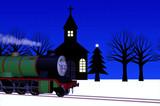 イブの夜,雪路を行く