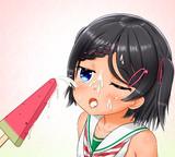 スイカバーを食べるシロッコちゃん