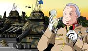 ジャブローで新年と一年戦争の終結を祝う地球連邦軍ゴップ大将