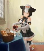 牛乳を注ぐホルスタイン