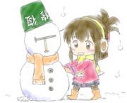 雪だるまと電ちゃん