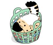 洗濯物入れに入るサーバルちゃん