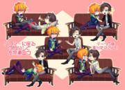ソファーに座るタカハシと水奈瀬コウ