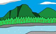 夏の山と川