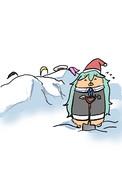 雪かきするエライ山風ちゃん