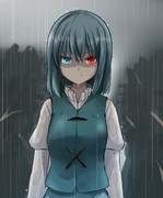 雨中に佇む唐傘お化け