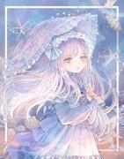 日傘の少女(水彩)