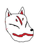 KNN姉貴の書いたKNN姉貴の頭についてる狐のお面