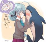 浜波とサメのぬいぐるみ