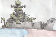 のこされ島の廃軍艦(未来少年コナン)