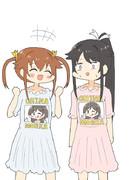 チャイナドレスと思ったら知名ドレスだったミケちゃんとシロちゃん