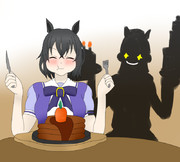左手にウエディングケーキ・右手にバースデーケーキ