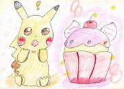 ピカチュウとカップケーキ