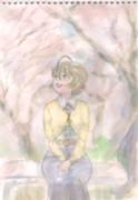 春、桜守さんスケッチ