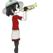 春休みで画力磨く最終日 トランペットを吹くかばんちゃん