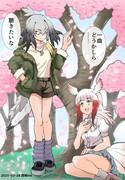 桜の木の下のハシビロコウとトキ
