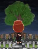 リンゴ飴の異形頭くん