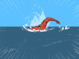 泳ぐ超大型巨人