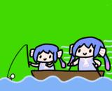 【GIF】魚を釣ろうとしている音街ウナ達