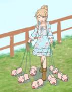 子豚ちゃんたちとお散歩