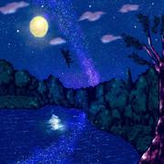 夜空を映す湖と天使