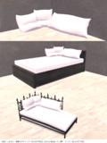 配布物紹介16 - へたれたクッション+木製ベッド(黒)