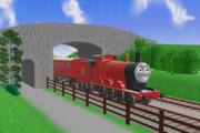 客車を引くジェームス