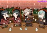 ステーキを食べる幼少期の最上型4姉妹