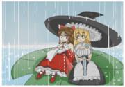 雨宿りするBNKRGとMZ
