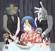 カレーを食べる藍丸