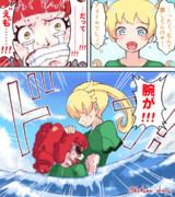 女萌黄、サメからあんなを救う