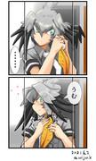 朝、鏡の前で髪をまとめるハシビロコウ