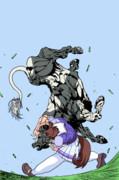 猛ダッシュしてきた牛さんを持ち上げるヒシアケボノ