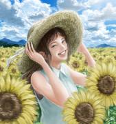 ひまわり畑と麦わら帽子