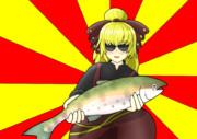 ヤマメを釣ってご満悦な黒谷ヤマメ
