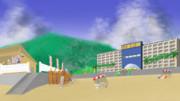 【背景フリー素材】海水浴場(陸向き)