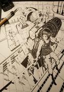 【整備格納庫×パイロット×メンテナンス中ロボット】 - オリジナルイラスト【線画】過去作2020