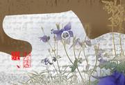 「おだまき」※写真加工・線画・彩・背景茶色・おむ09332