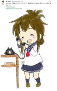 電話の相手に微笑む電ちゃん