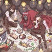 友達と屋内ピクニック