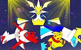 光の魔王に敗れる夢幻兄妹とピカチュウ