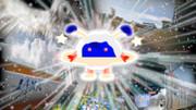 抽象概念と化したコスモ星丸に扮して茨城県つくば市を表敬訪問するエビ